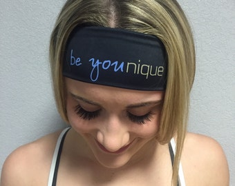 Younique headband Yoga Be Younique Black-great for workout running yoga wicks away sweat -bathing suit material soft-stays in place-washable