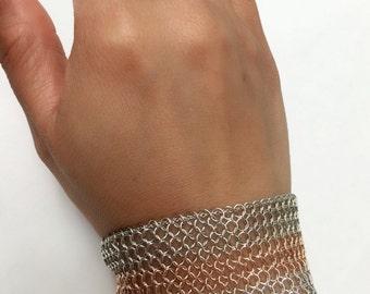 14KT Custom Wide Hand Woven Mesh Bracelet