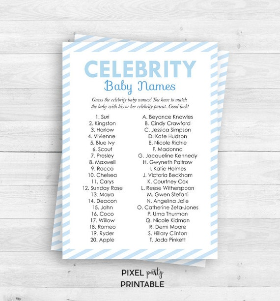 celebrity baby names game baby shower game printable celebrity baby