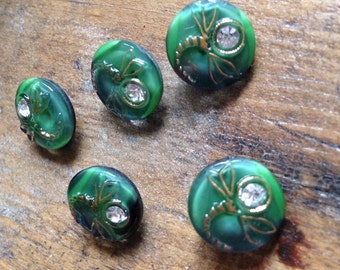 5 small old moonglow collector / glass buttons - Dragonfly motif with clear rhinestone - rarity - green - 13 mm