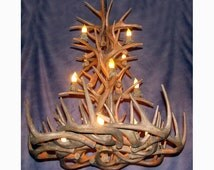 Reproduction Antler Tall Spruce Whitetail Deer Chandelier Light RL-31, Rustic