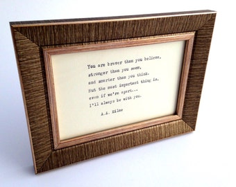 SALE***Gold, textured frame with hand-typed quote of your choice. Perfect Mother's Day  / birthday / christening / wedding present