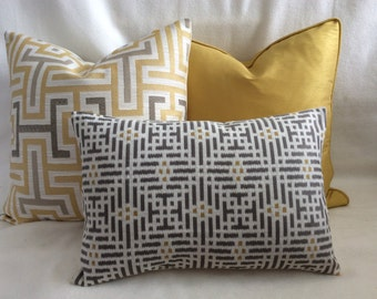 Designer Pillow Cover Set - Yellow Gold/Gray