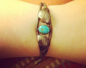 Deep Patina Vintage Sterling and Turquoise Cuff