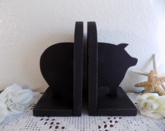 Black Chalkboard Pig Bookend Set Up Cycled Vintage Pair Country Farmhouse Man Cave Den Ranch Living Room Kitchen Home Decor Gift Him Her