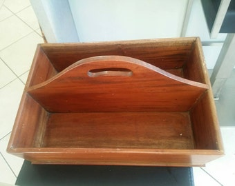 Wooden Vintage Cutlery Tray wonderful for BBQs