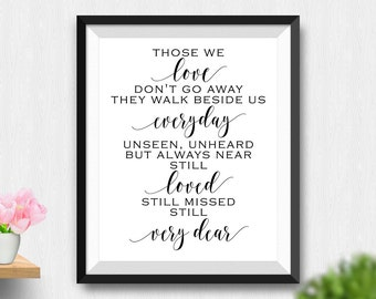 Printable Those We Love Don't Go Away Wall Art, Still Love Memorial Sign, Printable Sign, Printable Wedding Sign, Remembrance Sign (Stck362)