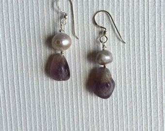 Sterling Silver, Raw Pearl and Amethyst Earrings