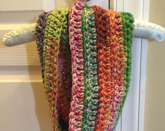 Colorful crochet child's infinity scarf