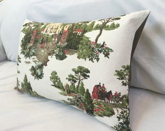 Vintage Barkcloth Pillow Cover, NEW Upcycled Pillow, 1940s Fabric, Equestrian Plantation Scene Decorative Throw Pillows Shabby Cottage Decor