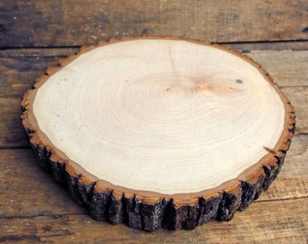 Large 11-13 Inch Tree Slice With Bark, Kiln Dried, Sanded Wood Slab