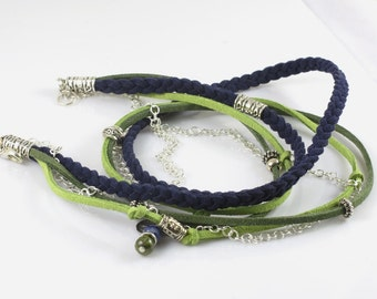 Braided Faux Suede and Chain Bracelet, Triple Wrap, Green and Navy Wrap Bracelet, Boho Bracelet