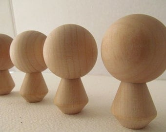 Kokeshi - Peg dolls - Unfinished, unpainted, DIY, blank wooden dolls - Lot of 4 - Kokeshi doll with Dress