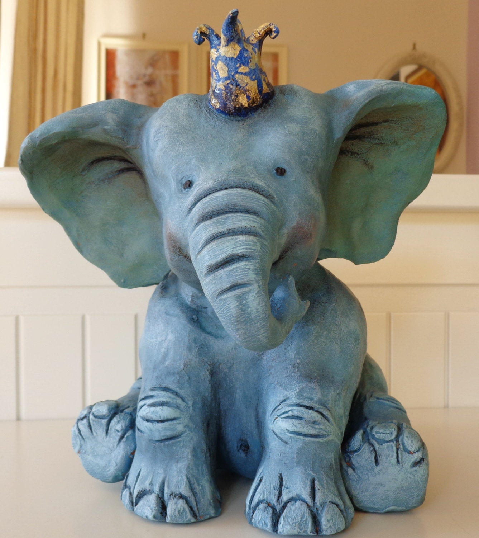 Cute Bady Blue Elephant Nursery Decor Ceramic Baby Elephant