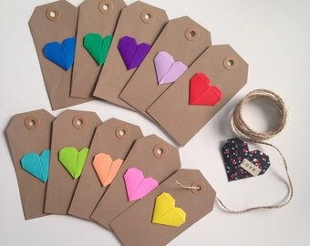 Origami Heart Tags, Luggage Tags, Decorative Tags (Set of 10)
