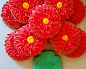 Mason jar flowers cookies (12 cookies)