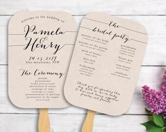 Printable Wedding Fan Program - Rustic - FP02