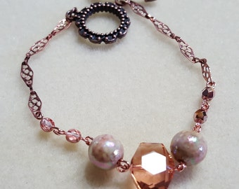 Copper and glass bead bracelet