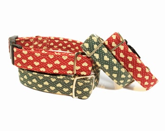 Heart Dog Collar - red or green