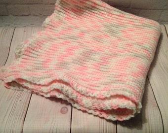 Crochet Baby Blanket, Baby Blanket, Baby Afgan, Baby Shower Gift, Pink White Grey Ombre