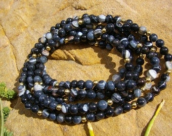 Black Natural Banded Agate Necklace