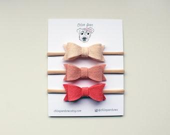 The Harper Mini Wool Felt  Bow Nylon Headband | Choose Your Own Colors | newborn headbands | mini hair bows | wool felt hair bows | tiny bow
