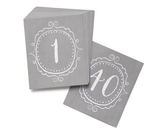 Wedding Reception Table Numbers / Vintage Gray Table Number Cards 1 To 40