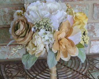 Burlap & Lace Bridal Bouquet