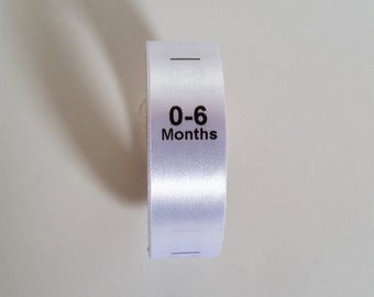 0-6mth size labels. Sew in White Satin Ribbon with Black print. Baby Clothing Tags