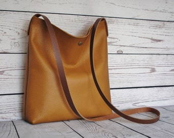 Caramel crossbody bag, real leather, slouchy cross body, shoulder bag, leather purse