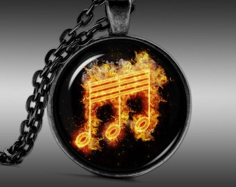 Music Notes Pendant, orchestra Necklace, Band Jewelry  Pendants Charm Choker Chain FRW313
