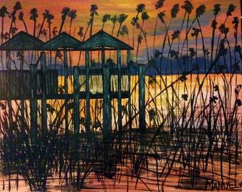 "100% original ART Acrylic PAINTING Artist MS Modern Contemporary canvas 20""x16"""