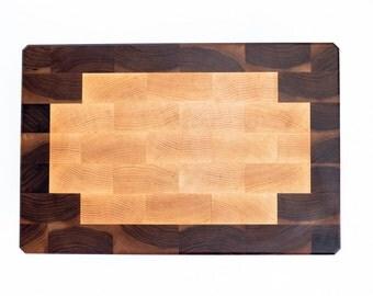 Maple & Walnut Border End Grain Cutting Board