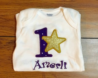 Personalized Applique Star Birthday Shirt