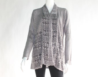 Vintage Loose Knitted Grey Cardigan  - Size LARGE