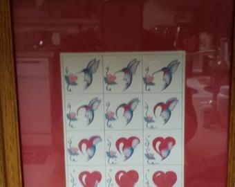 Hearts and Hummingbird framed print