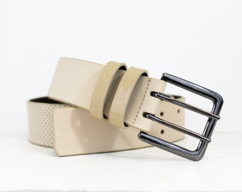 Perforated Jean Belt in Genuine Italian Leather - Sand