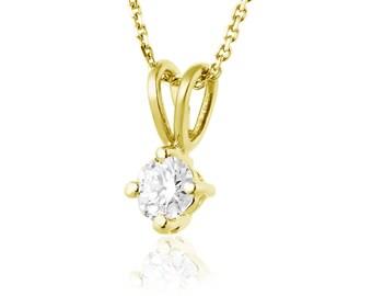 Natural Diamond Pendant Necklace, Solitaire Necklace, 14K Yellow Gold Pendant, Diamond Solitaire Pendant, Gold Chain Necklace