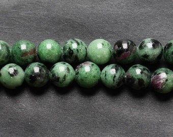 B48 Natural Ruby Zoisite Beads, Full Strand 4 6 8 10 12 14mm Round Ruby Zoisite Gemstone Beads for DIY Jewelry Making