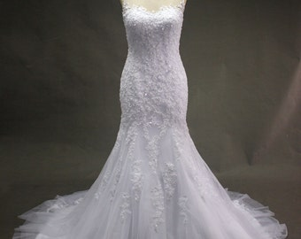 White lace and Tulle Mermaid Wedding dress with see through back