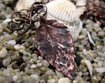 Handmade hammered leaf copper necklace, item 150076