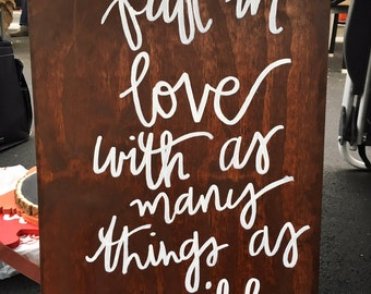 Fall in Love 12x216 inch Wood Sign