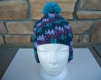 Purple Multi-Color Toddler Earflap Hat With Pom-Pom