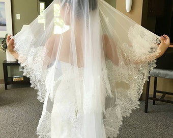 Bridal Wedding 2 Tier Delicate French Chantilly Lace Veil Blusher Light Ivory/White Finger Tip Length With Comb Made to Order