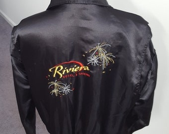 Vintage Retro 80's Riviera Hotel & Casino Satin style jacket Medium