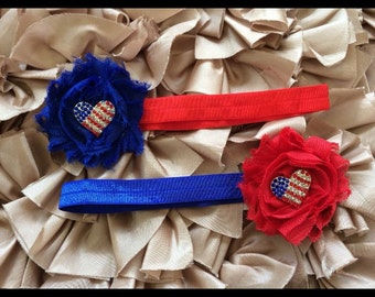 Shabby Chic Patriotic/American/Red/White/Blue Baby Headband