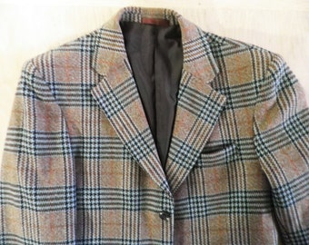 Vintage English Wool Tweedy Check Jacket   Size M