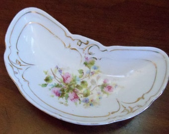 Vintage Mid Century Crescent Dish, Hand Painted Crescent Dish, Trimmed in Gold Floral Design Crescent Dish, Jewelry/Trinket Dish, 1950s'
