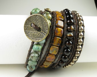 4 wrap bracelet with African Turquoise and Gold Obsidian
