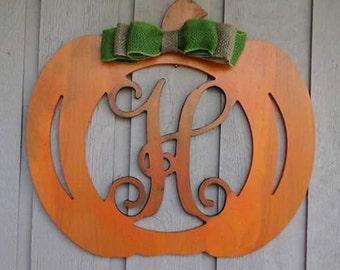 Fall Halloween Thanksgiving Pumpkin wreath door hanger with initial monogram